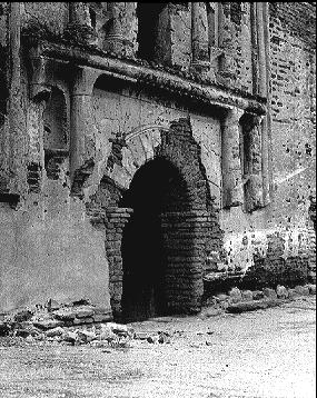 Early picture of Tumacacori mission with extensive damage.